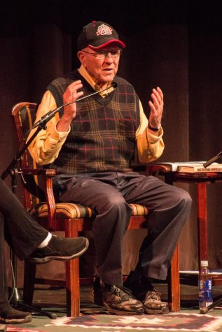 Billy Edd Wheeler speaks at his memoir release at Kittredge Theatre.