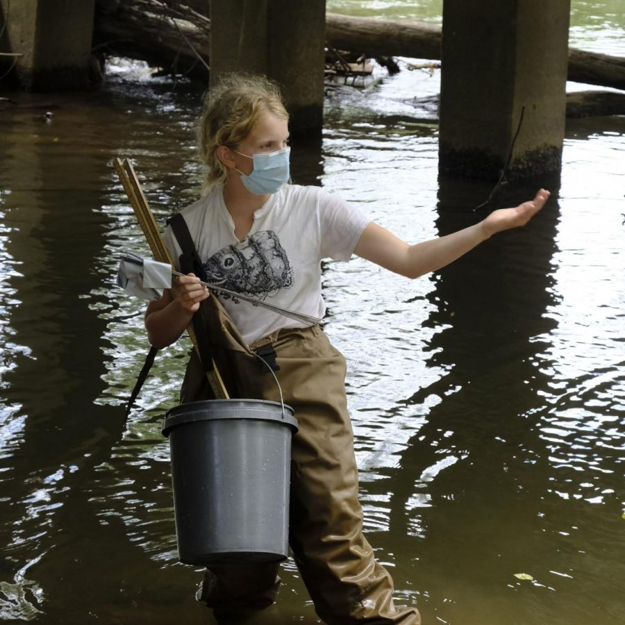 Haleigh Ward conducting research in the Swannanoa River.
