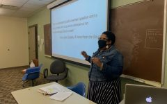 Daleah Goodwin teaching a group of first-year students in her class: Resistance, Freedom, Activism.